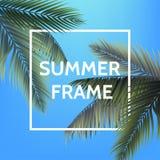 Wit vierkant de zomerkader met palmbladen op blauwe hemelachtergrond In illustratie voor uw affiche, uitnodiging Stock Afbeelding