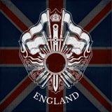 Wit Wapenschild met Cirkelkader en Uitstekende Wapens op de Vlagachtergrond van Groot-Brittannië Royalty-vrije Stock Afbeelding
