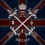 Wit Wapenschild met Dwarspijlen op de Vlagachtergrond van Groot-Brittannië Stock Fotografie