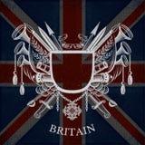 Wit Wapenschild met Kader en Uitstekende Wapens op de Vlagachtergrond van Groot-Brittannië Stock Foto's