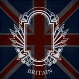 Wit Wapenschild met Kader en Uitstekende Wapens op de Vlagachtergrond van Groot-Brittannië Royalty-vrije Stock Afbeelding