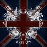 Wit Wapenschild met ovaal Kader en Uitstekende Wapens op de Vlagachtergrond van Groot-Brittannië Royalty-vrije Stock Afbeelding