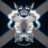 Wit Wapenschild met ovaal Kader en Uitstekende Wapens op de Vlagachtergrond van Schotland Royalty-vrije Stock Foto