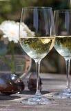Wit wijnglas op terraslijst - vliegeniers, bloem Royalty-vrije Stock Foto
