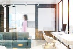 Wit woonkamerbinnenland, het dubbel van het huisbureau Royalty-vrije Stock Afbeeldingen