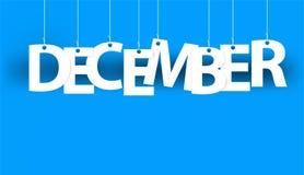 Wit woord DECEMBER - woord het hangen op de kabels op blauwe achtergrond Nieuwe jaarillustratie Stock Afbeelding