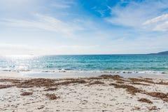 Wit zand in Alghero-kust stock afbeelding