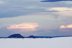 Wit Zand Nationaal Monument bij Zonsondergang Royalty-vrije Stock Afbeeldingen