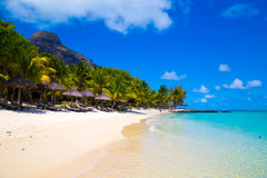 Wit zandig strand met paraplu's Mauritius Royalty-vrije Stock Fotografie