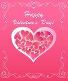 Witać różową kartę z kierowym kształtem z sercami dla Valentine's dnia royalty ilustracja