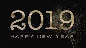 Witać 2019 szczęśliwych nowy rok kart w goldem tekscie na czarnym backgr royalty ilustracja