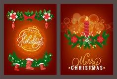 Witać Wesoło boże narodzenia i Szczęśliwego nowego roku wektor royalty ilustracja