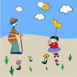 Wita dziadu i wnuk wiosna, żartuje kolorystyki książkę Fotografia Royalty Free