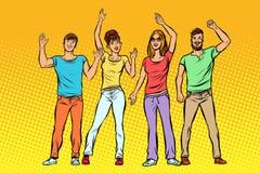 wita grupa ludzi macha ich ręki ilustracja wektor