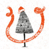 Święta moje portfolio drzewna wersja nosicieli Rocznika wektoru Xmas karta Fotografia Stock
