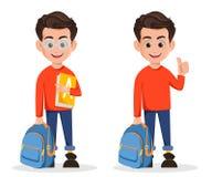Wita Z powrotem szkoła, set dwa pozy royalty ilustracja