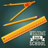 Wita z powrotem szkoły powitanie z władcą, ołówek royalty ilustracja