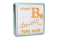 Witamina B9, folic kwas Ikona, chemiczna formuła, cząsteczkowy struct ilustracja wektor