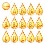 Witamina ikona Ustawiający wektor Organicznie witaminy złota kropli ikona Kropelka, Złota substancja 3D kompleks Z Chemiczną form ilustracji