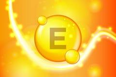 Witaminy E pigułki kapsuły złocista olśniewająca ikona Witamina kompleks z Chemiczną formułą połysku złoto błyska Medyczny i farm royalty ilustracja