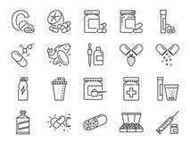 Witaminy i żywienioniowego nadprograma ikony set Zawrzeć ikony jako witamina c, rybi olej, serwatki proteina, pastylka, pigułki,  ilustracja wektor