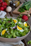 Witaminy sałatka od sałaty, rzodkwi, zielonych cebul i jajek przyprawiających z, jarzynowym olejem i musztardą w talerzu na drewn Obrazy Royalty Free