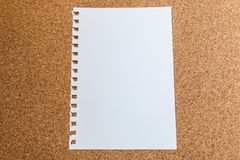 Witboek op cork raad Royalty-vrije Stock Afbeeldingen