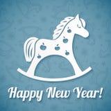 Witboek vectorpaard op blauwe achtergrond Stock Afbeelding