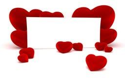 Witboek voor bericht en rode hartvormen Royalty-vrije Stock Afbeelding