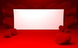 Witboek voor bericht en rode hartvormen Stock Foto's
