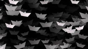 Witboekboten op zwarte kleur stock footage