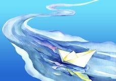 Witboekschip in het waterelement Royalty-vrije Stock Afbeelding