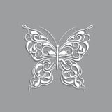 Witboekvlinder met uitstekend patroon op grijze achtergrond stock illustratie