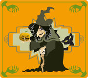 The Witch. A creepy witch holding a pumpkin on her hand Stock Images