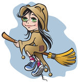 Witch. Vector illustration of small smile witch flying on a broom Royalty Free Stock Images