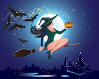 Witch. Illustration of a witch on a broom Stock Photography