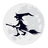 Witch. Silhouette of flying witch, illustration for Halloween holiday Royalty Free Stock Images