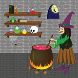 Witch. Vector illustration of witch boiling poison in cauldron in a castle room with shelves, skull, bottles, books, spider, frog Royalty Free Stock Photography