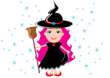 Witch. Vector children's illustration by day of all sacred, a small witch with a broom, on a head a hat Royalty Free Stock Images