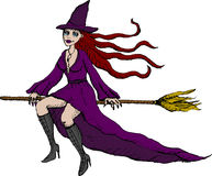 Witch. Vector illustration of flying witch on broom Stock Photos