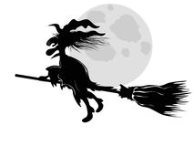Witch. Isolated the witch silhouette flying under moon Royalty Free Stock Images