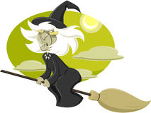 Witch. Flying on a broom in a series of pictures Halloween Stock Image