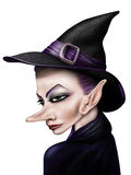 Witch. Stylized illustration of a witch in a pointy hat Royalty Free Stock Images