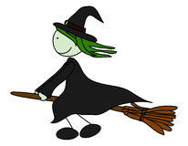 Witch. Flying on a broom royalty free illustration