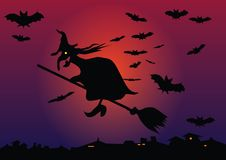 Witch. And bats on sky Stock Image