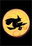 Witch. Silhouette of witch in halloween night Stock Photo