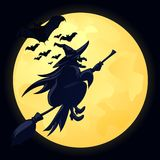 Witch. Illustration of witch on moon background Stock Photos