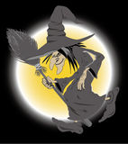 Witch. And moon in black background Stock Images