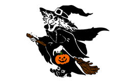 Witch. The witch flying on the broom with pumpkin in one hand Royalty Free Stock Image