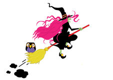 Witch. Vector color graphic depicting a witch on her broom (concept: Halloween Stock Photography